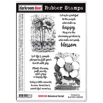 Darkroom Door Cling Stamp BOTANICAL SCRIPT Rubber UM ddrs186