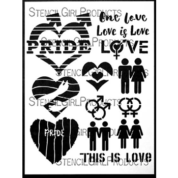 StencilGirl LOVE IS LOVE 9x12 Stencil L610