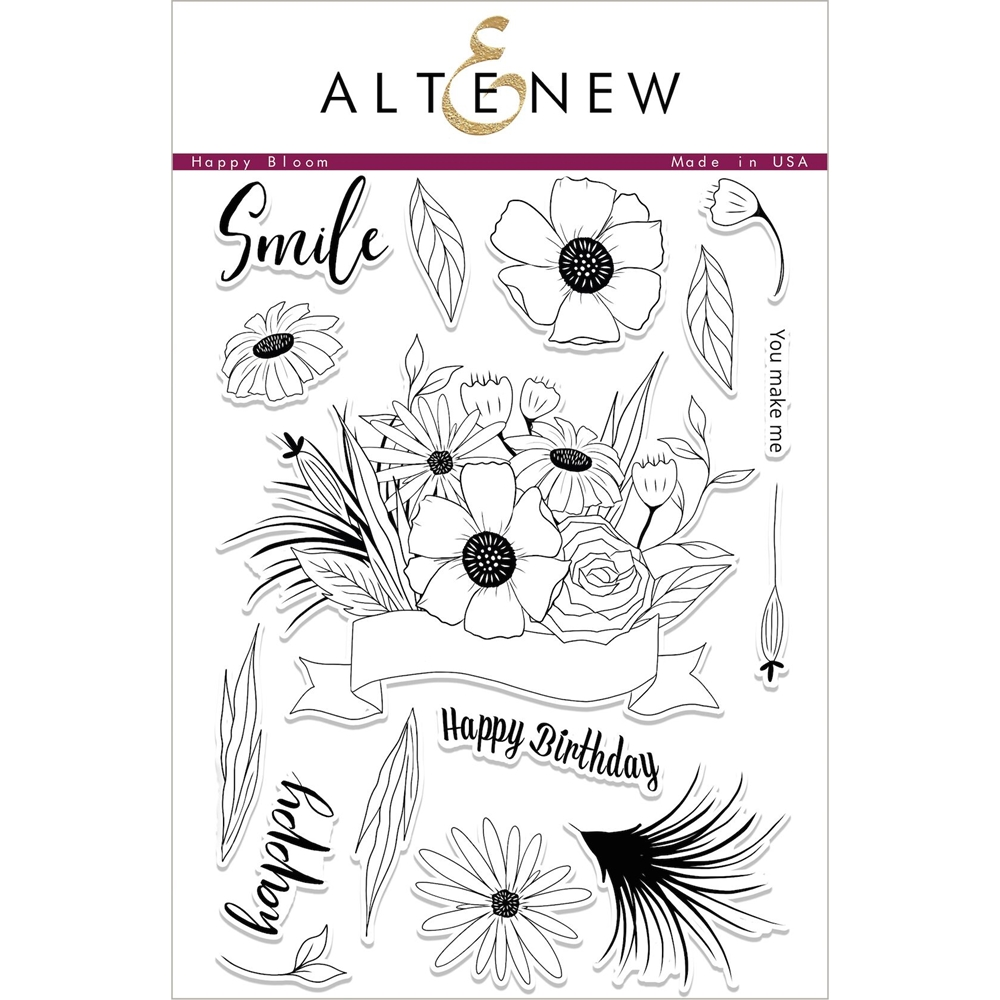 Altenew HAPPY BLOOM Clear Stamp Set ALT2060 zoom image