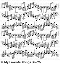 My Favorite Things MUSICAL NOTES Background Rubber Cling Stamp BG96