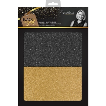 Crafter's Companion BLACK & GOLD A4 Luxury Glitter Cardstock s-bg-glitter