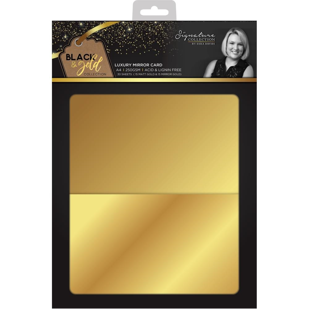Crafter's Companion GOLD A4 Luxury Mirror Cardstock Black & Gold s-bg-mirror zoom image