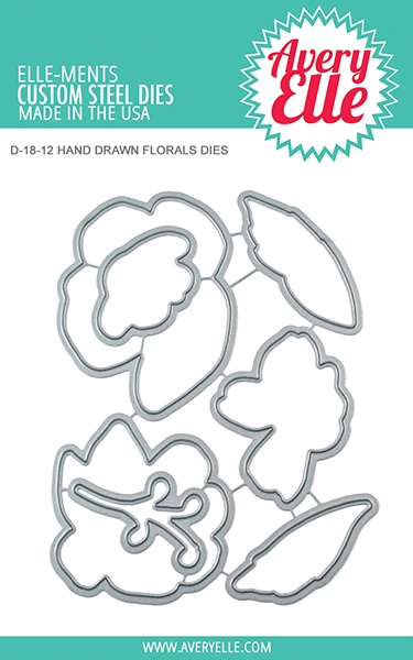 Avery Elle Steel Dies HAND DRAWN FLORALS Die Set D-18-12 zoom image