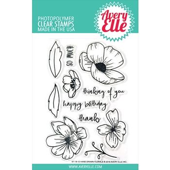 Avery Elle Clear Stamp HAND DRAWN FLORALS Set ST-18-12