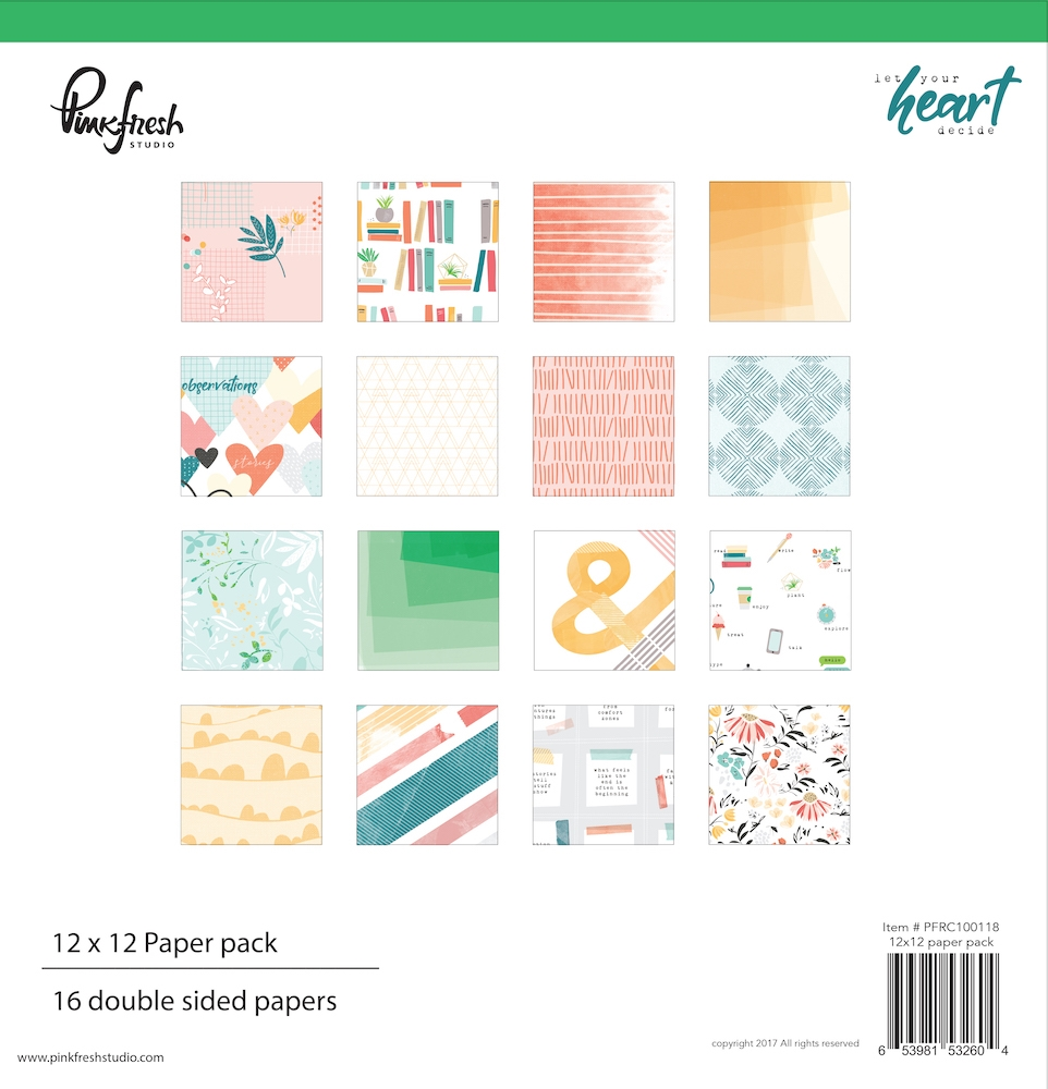 Pinkfresh Studio LET YOUR HEART DECIDE 12 x 12 Paper Pack pfrc100118* zoom image