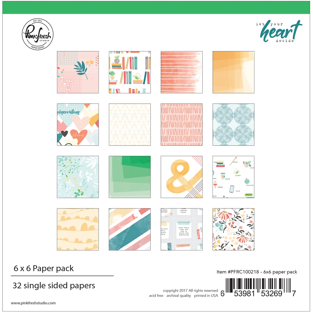 Pinkfresh Studio LET YOUR HEART DECIDE 6 x 6 Paper Pack pfrc100218 zoom image