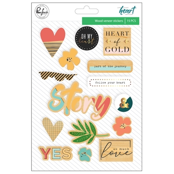 Pinkfresh Studio LET YOUR HEART DECIDE Wood Veneer Stickers pfrc100918