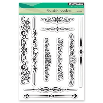 Penny Black Clear Stamps FLOURISH BORDERS 30-462