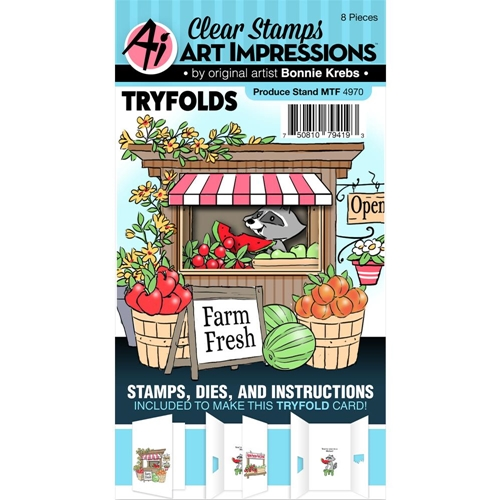 Art Impressions PRODUCE STAND Mini Tri Folds Clear Stamp and Dies 4970 Preview Image
