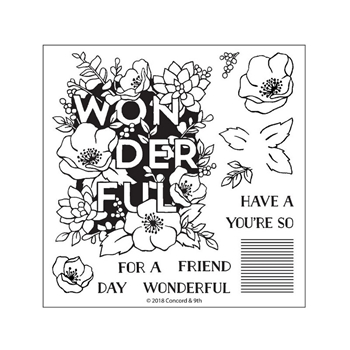 Concord & 9th WONDERFUL FLORALS Clear Stamp Set 10362