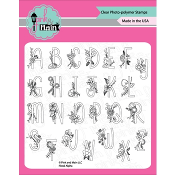 Pink and Main FLORAL ALPHA Clear Stamp Set PM0259