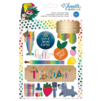 Shimelle STICKER AND WASHI BOOK WITH FOLDER Box of Crayons 346613