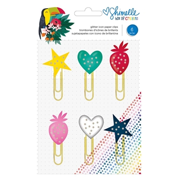 American Crafts Shimelle GLITTER PAPER CLIPS Box of Crayons 346620