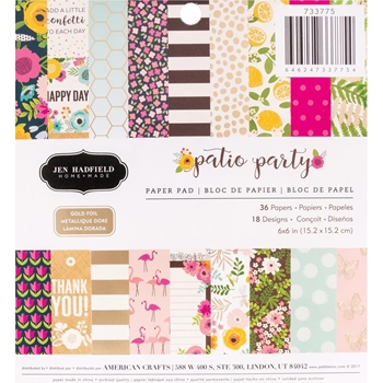 Pebbles Inc. Jen Hadfield PATIO PARTY 6x6 Inch Paper Pad 733775