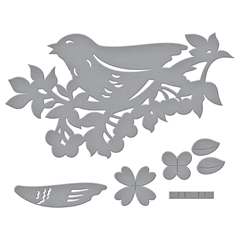 S2-285 Spellbinders BIRD ON CHERRY BRANCH Etched Dies Flower Garden by Sharyn Sowell