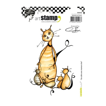 Carabelle Studio UN CALIN AVEC MAMAN CHAT Cling Stamp sa60366