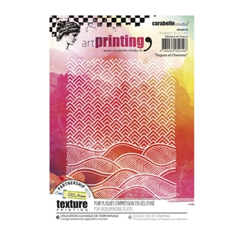 Carabelle Studio VAGUES ET CHEVRONS Art Printing Texture Plates for Monoprinting ap60018