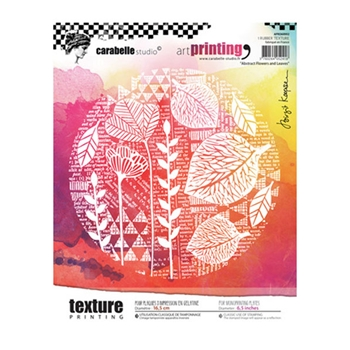 Carabelle Studio ABSTRACT FLOWERS AND LEAVES Art Printing Texture Plate Round apro60002