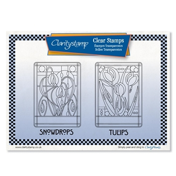Claritystamp ART NOUVEAU SNOWDROPS AND TULIPS Clear Stamps stafl10580a5