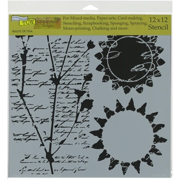The Crafter's Workshop JOURNAL MUSINGS 12x12 Stencil tcw768