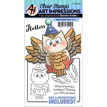 Art Impressions OWL Flutters Clear Stamps and Dies 4972