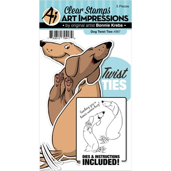 Art Impressions DOG Twist Ties Stamp and Die Set 4987