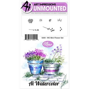 Art Impressions MINI FLOWER SET Watercolor Cling Rubber Stamps 5009
