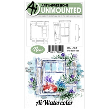 Art Impressions WINDOW SET Watercolor Cling Rubber Stamps 5014
