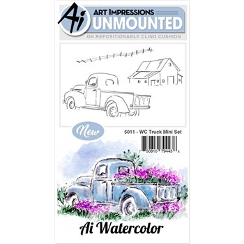 Art Impressions TRUCK MINI SET Watercolor Cling Rubber Stamps 5011