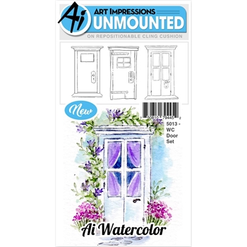 Art Impressions DOOR SET Watercolor Cling Rubber Stamps 5013