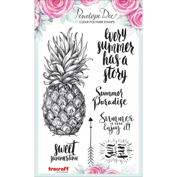 Penelope Dee SUMMER BREEZE PINEAPPLE Clear Stamps pd1178