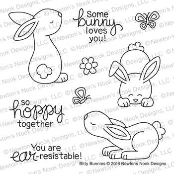 Newton's Nook Designs BITTY BUNNIES Clear Stamp Set NN1802S01