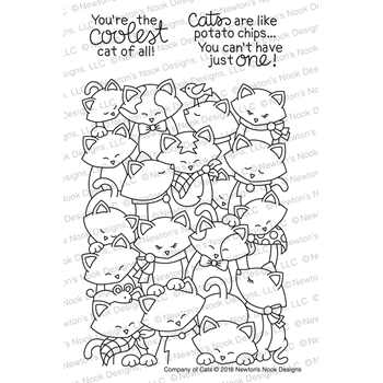 Newton's Nook Designs COMPANY OF CATS Clear Stamp Set NN1802S03