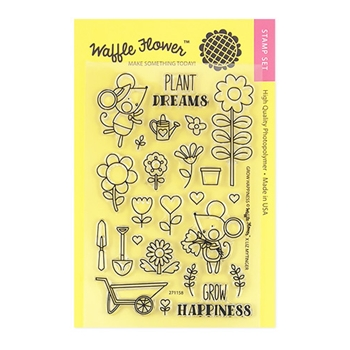 Waffle Flower GROW HAPPINESS Clear Stamp Set 271158