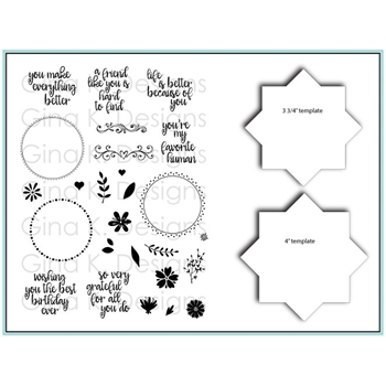 Gina K Designs WREATH BUILDER Clear Stamps and Stencil Bundle 5485