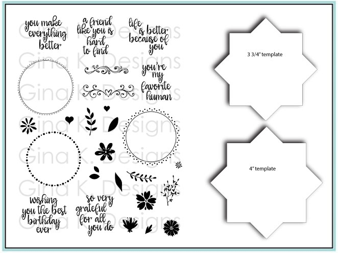 Gina K Designs WREATH BUILDER Clear Stamps and Stencil Bundle 5485 zoom image