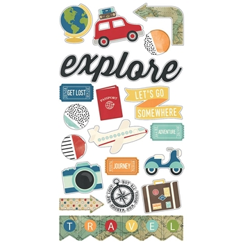 Simple Stories TRAVEL NOTES 6 x 12 Chipboard Stickers 10108