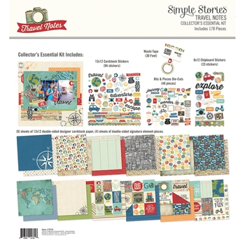 Simple Stories TRAVEL NOTES 12 x 12 Collector's Essential Kit 10114