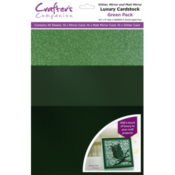 Crafter's Companion GREEN Luxury Cardstock Pack cp-lmix-green811