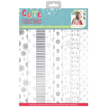 Crafter's Companion CUTE CHRISTMAS A4 Luxury Foiled Cardstock Pad s-cc-pada4