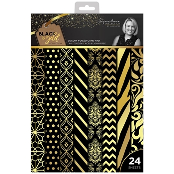 Crafter's Companion BLACK & GOLD A4 Luxury Foiled Cardstock s-bg-pada4