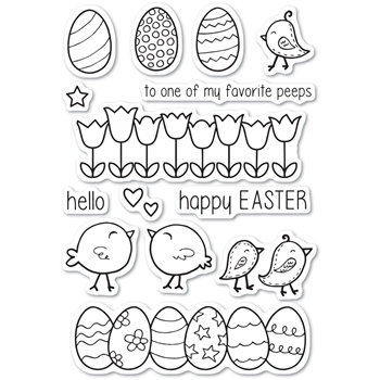 Memory Box Clear Stamps EASTER CHICKS POPPY STAMPS cl463