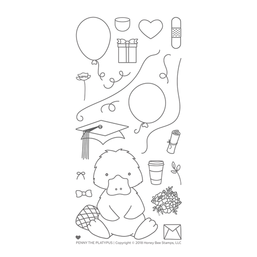 Honey Bee Penny The Platypus Clear Stamp Set