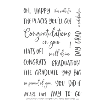 Honey Bee CONGRATS GRAD Clear Stamp Set hbst-96