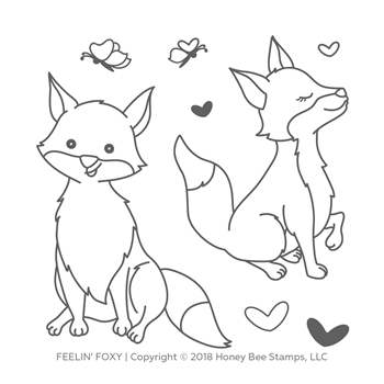 Honey Bee FEELIN' FOXY Clear Stamp Set hbst-99