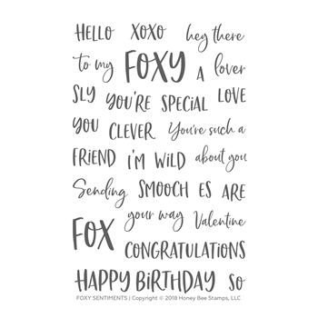 Honey Bee FOXY SENTIMENTS Clear Stamp Set hbst-100