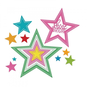 Sizzix Framelits DOTTED STARS Wafer Thin Die Set 662731