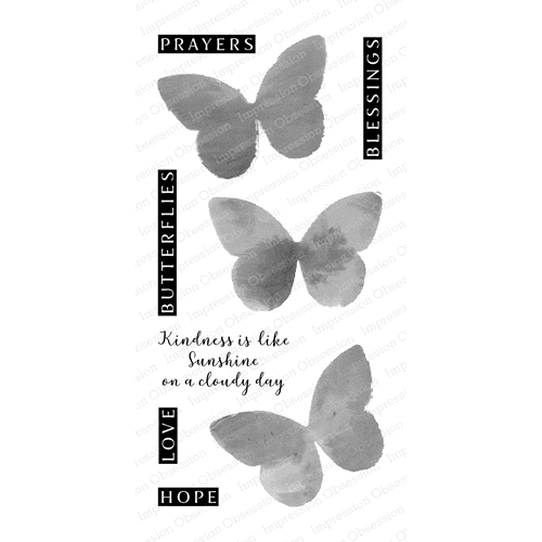 Impression Obsession Clear Stamp WATERCOLOR BUTTERFLIES WP846 Preview Image