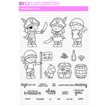 Clearly Besotted PIRATES AT PLAY Clear Stamp Set