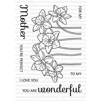 Clearly Besotted SPRING DAFFODILS Clear Stamp Set